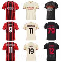 2021 2022 AC Milan Soccer Jersey 11 Ibrahimovic 9 Giroud 79 Kessie 12 Rebic 17 Leao 10 Brahim 19 Theo 8 Tonali 56 Saelemaekers Camisa de Futebol Kits Home Vermelho Vermelho Bege
