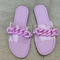 Women Chain slides Printing Flowers Slippers Summer Purple Open Toe Flat Sandal Scuffs Fashion RainbowFlip Flops Outdoor Beach Casual shoes EU35-43