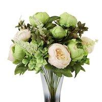 Künstliche Blumen Bouquet Rose Rosa Seide Pfingstrose Fake für Haus Hochzeit Dekoration Indoor Dekorative Kränze