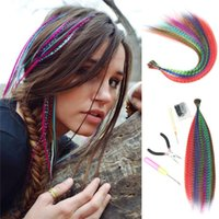 Synthetic Wigs 10 Strands Colored Of Hair False Rainbow Overhead Fake Coloring Feather For Girls Women