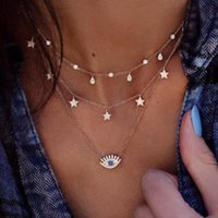 Jewelry Multilayer Choker crystal pendant Necklace For Women necklaces charm Turkish Evil Eyes Bohemian gold chain Vintage Devil Pendants Beads Party anniversary