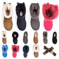 2020 Yeni  kadınlar kız klasik kar botları ayak bileği kısa yay kürk boot kış siyah kestane kadın ayakkabı için boyutu 36-41 moda açık