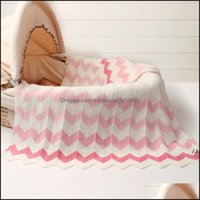 Textiles Home & Garden102*76Cm Baby Infant Knitted Basket Blanket For Summer Air Conditioning Toddler Bedding Quilt Born Soft Swaddles Wrap