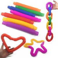 도매 다채로운 DIY 건물 플라스틱 Fidget 감각 도구 팝 튜브 파이프 감각 장난감 아이들을위한 스트레칭