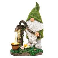 Solar Dwarf Garden Statue Green Hat Resin Decorative Light Objects & Figurines