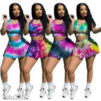 여성 두 조각 드레스 2021 여름 새로운 디자이너 패션 여성의 U 목 넥타이 염료 나이트 클럽 스타일 슬림 맞는 스포츠 조끼 치마 두 조각 LULU365 세트