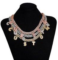 Collar de nombre personalizado Colgante de la letra de diamantes de imitación chapado en oro con 12 mm 24 pulgadas de Miami Cadena cubana para hombres Mujeres Punk DFF2812