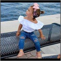Bebé, niños maternidad entrega entrega 2021 verano moda ropa conjuntos bebé niña ropa algodón blanco cosecha camisa blusa + jeans dos piezas
