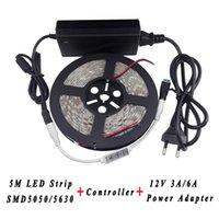 Şeritler 10 takım / grup 50 M 3528 5630 LED Şerit Su Geçirmez Esnek Işık 60LEDS / M + 3 Tuşları Denetleyici 12 V 2A / 6A Güç Kaynağı Adaptörü