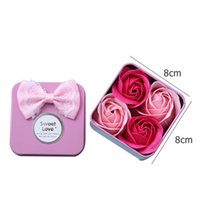 4pcs Soap Flower Gift Essential Bath Body Petal Scented Rose Flowers with Tinplate Box Wedding Decoration
