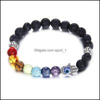 Beaded, Strands Jewelrywholesale Natural Black Lava Stone Beads Bracelets For Women 7 Reiki Chakras Beaded Yoga Balance Bracelet With Hand C