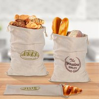Bunched bread Storage Bags Folding Linen bread bag reusable French baguette drawstring bag Home Storage T2I52175