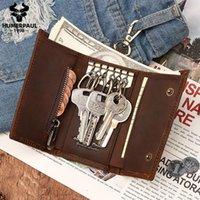 جلد طبيعي مفتاح سلسلة حامل محفظة منظم صغير الحقيبة سيارة / مدبرة المنزل حالة بطاقة صغيرة حقيبة مصمم الذكور عملة محفظة محافظ 1