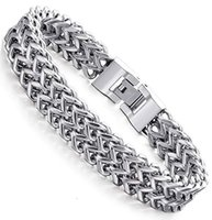 Brace Lace Hand ChainPersonality Square Men's Stainless Steel Bracelet Front and Back Chain Fish Scale Titanium Jewelry