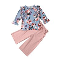Clothing Sets Born Baby Girls Pink Long Sleeve Printed Tops Trousers Pants Clothes 2-7Y