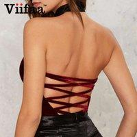 VIIFAA GRÜN GRÜNE Backless Sexy Samt Bodysuit Frauen Lace-up Elegante Nacht Out Clubbekleidung Schulterfreier Party V-Ausschnitt Streetwear Bodys