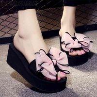Women Bow Summer Sandals Slipper Indoor Outdoor Beach Shoes summer women's shoes flip flops on the platform sandalia feminina c5 210913