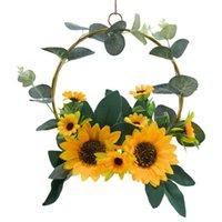 Artificiale girasole corona di primavera estate per porta anteriore finestra della parete domestica finestra di nozze decorazione della festa di nozze ghirlande agricola corona di fiori decorativi