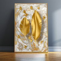 Nordic Golden Leaf Wall Art Prints Luxury Wall Art Canvas Paintings Posters Decorative Wall Art Prints Living Room Home Decor