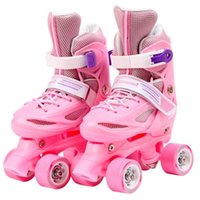 Girls Kids Roller Skates Pvc Skating Shoes Sliding Quad Sneakers 4 Wheels 2 Row Line Outdoor Gym Sports Skate Patines Inline &