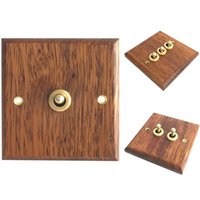 Smart Home Control 86 Type Solid Wood Panel Switch Wall Light Retro Brass Toggle Grain Electrical Socket