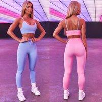 Patchwork Frauen Sport Set Weibliche Blau Zwei 2 Stück Ernte Top BH Leggings Yoga Anzug Workout Aktiv Outfit Fitness Tragen Sie Gymnastik
