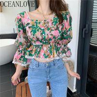 Blouses Femmes Chemises OceanLove Tops Sexy Tops Floral Été Femmes Élégantes Volants Imprimer Coréen Short Blusas 2021 Flare Manches Vintage 16944