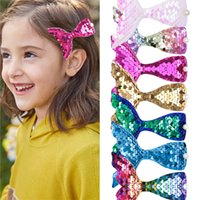 8 Colors Children Mermaid Design Fashion Scales Sequins Hair Bow Women Hairpins Girls Hair Clips Kids Headwear Accessories
