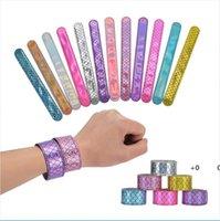 Девушки русалки блестики SLAP Snap браслет партии сияющий браслет мода дети мальчики ювелирные изделия красочные детские день рождения Partys подарок EWB6731