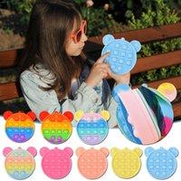 Caja colorida del lápiz del arco iris Simple Sensory Silicone Pulse Bubble Bolsa de almacenamiento de papelería para niños Bolsa de papelería creativa