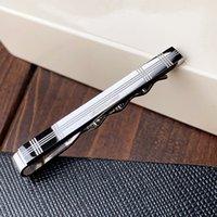 M-07 Kravat Klip Titanyum Çelik Metal Moda Çelikler Gümüş Bağları Pins Bar Toka Pin Band Marka Kutusu Ile