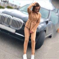 Tyhru Sonbahar Bahar Bayan Eşofman Süet Katı Renk Gömlek Yaka Tek Göğüslü Kemer Elastik 2 Parça Pantolon Suit