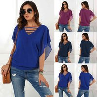 Summer T shirt Self Designed Cut Out V-ne Short Sleeve Chiffon Top for Women in Spring and of 2021