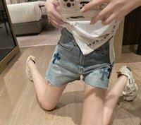 21SS Summer NEW CH Gradiente Pelle Pelle Croce ricamo Lavaggio Denim Shorts Bordatura Bedging Sanskrit