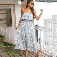 Women's fashion boho beach print dress for womens casual tube top style holiday style printed Strapless midi dress vestido 210514