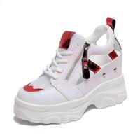 Rimocy Summer Women Sandals 9cm Cuñas Hueco Out Zapatillas de deporte Ladies Transpirable Malla Plataforma Casual Zapatos Mujer Blanco 210619 9DEU