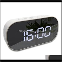 Wall Clocks Décor Home & Garden Drop Delivery 2021 Led Alarm Battery Operated Mirror Surface Multifunctional Luminous Digital Smart Clock C8P