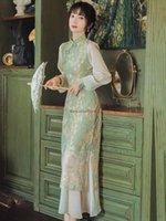 Chinese Dress Party Oriental Mandarin Collar Qipao Lace Satin Cheongsam Elegant Lady Ethnic Clothing