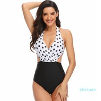 Women's Swimwear Multi color Print One-piece swimsuit neck waist band hollow Sexy Swim Suit Bikini 1pc