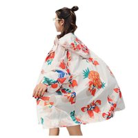 Women's Trench Coats Women Summer Large Size Hooded Sun Protection Clothing Printing Zipper Thin Section Loose Casual