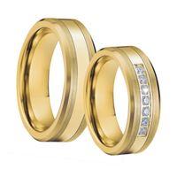 Hombre tungsteno anillos banda de boda anillo conjunto de color oro bague anel anillos titanio compromiso pareja para mujeres T190624