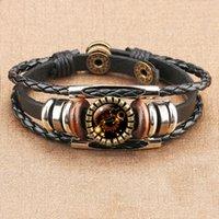 Luxury designer high quality 12 Zodiac logo black braided leather Cancer Leo Libra braided glass Dome jewel Punk man bracelet