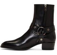 Cuero genuino Wyatt arnés botas zapatos cremallera dentro de moda hombres Martin boot biker boost plus size euro 38-46