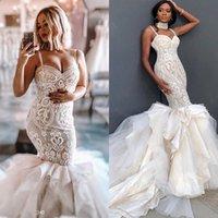 Plus Size Mermaid Wedding Dresses Sexy Spaghetti Lace Applique Tiered Skirts robe de marie Gorgeous Beach Wedding Dress Custom Ma