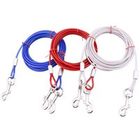 Dog Collars & Leashes Stainless Steel Pet Rope Training Leash Traction Slip Lead Strap Adjustable Collar Pets Accessoies