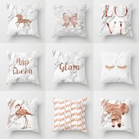 Cushion Decorative Pillow Case Ins Style Letter Peach Skin Velvet Marble Pattern Modern Simple Rose Gold Cushion Cover Home