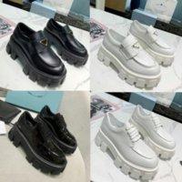 디자이너 신발 부드러운 소 가죽 플랫폼 운동화 로퍼 고무 검은 반짝이 가죽 chunky 라운드 머리 운동화 두꺼운 하단 신발 크기 35-40