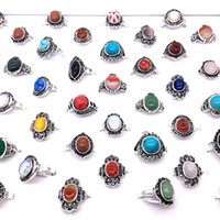 Wholesale 50PCs LOT Women's Side Stones Rings Vintage Antique Silver Plated Party Jewelry Ring Mix Styles Ladies' favorite with a display box