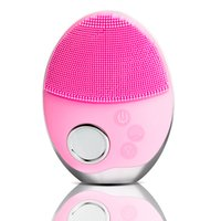 Ultrasonic 3 Colors LED Photon Lights Electric Facial Ceansing Brush Mini Soft Silicone Wireless Face Washing Machine Massager
