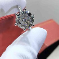 حلقات inbeaut 925 الفضة جولة ممتازة قطع 5 قيراط د اللون تمرير الماس اختبار مويسانيت خاتم الزواج تألق كبير